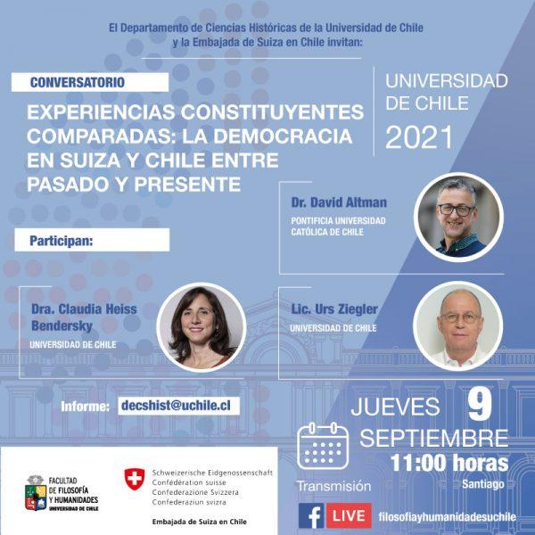 """Conversatorio """"Experiencias constituyentes comparadas: la democracia en Suiza y Chile entre pasado y presente"""